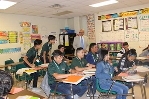 Jose Flores observes a classroom at Alton Memorial Jr. High