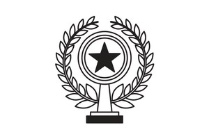 ivy surrounding trophy with a star clipart
