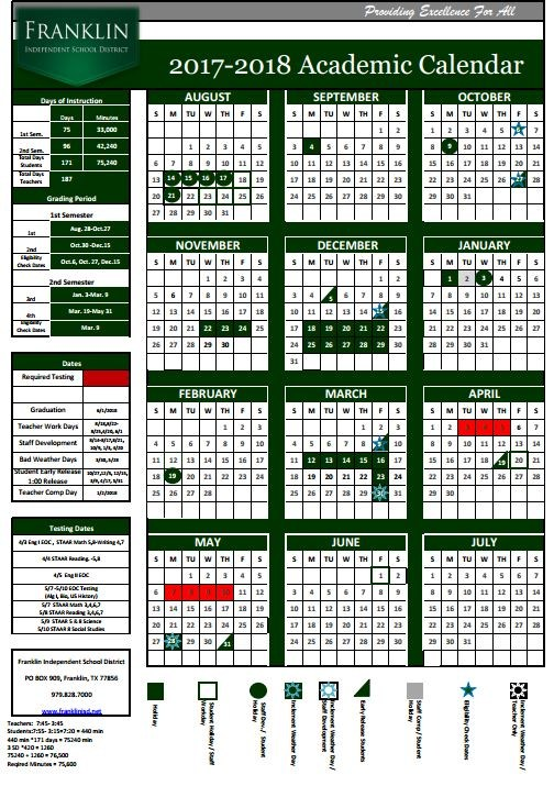 Updated 2017-2018 School Calendar Thumbnail Image
