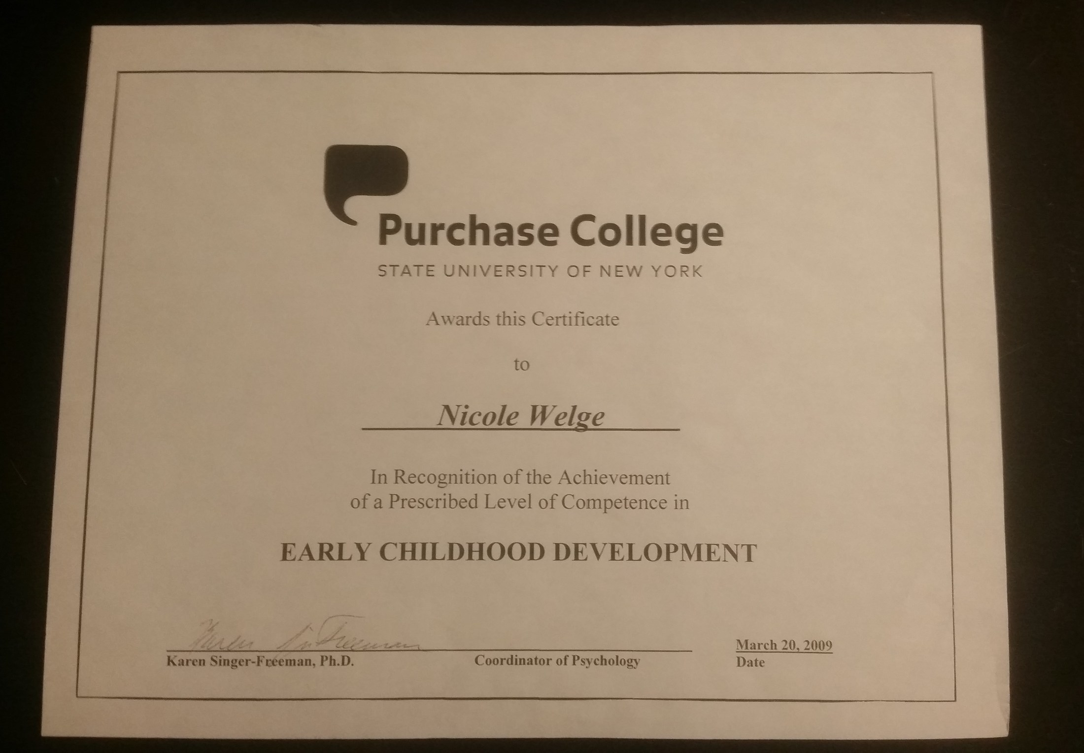 About me miss nicole welge greenwich catholic school my early childhood development certificate from purchase college suny xflitez Gallery