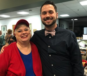 District Teacher of the Year Daniel Bailey, right, and Lola Richbourg, who inspired him to teach.