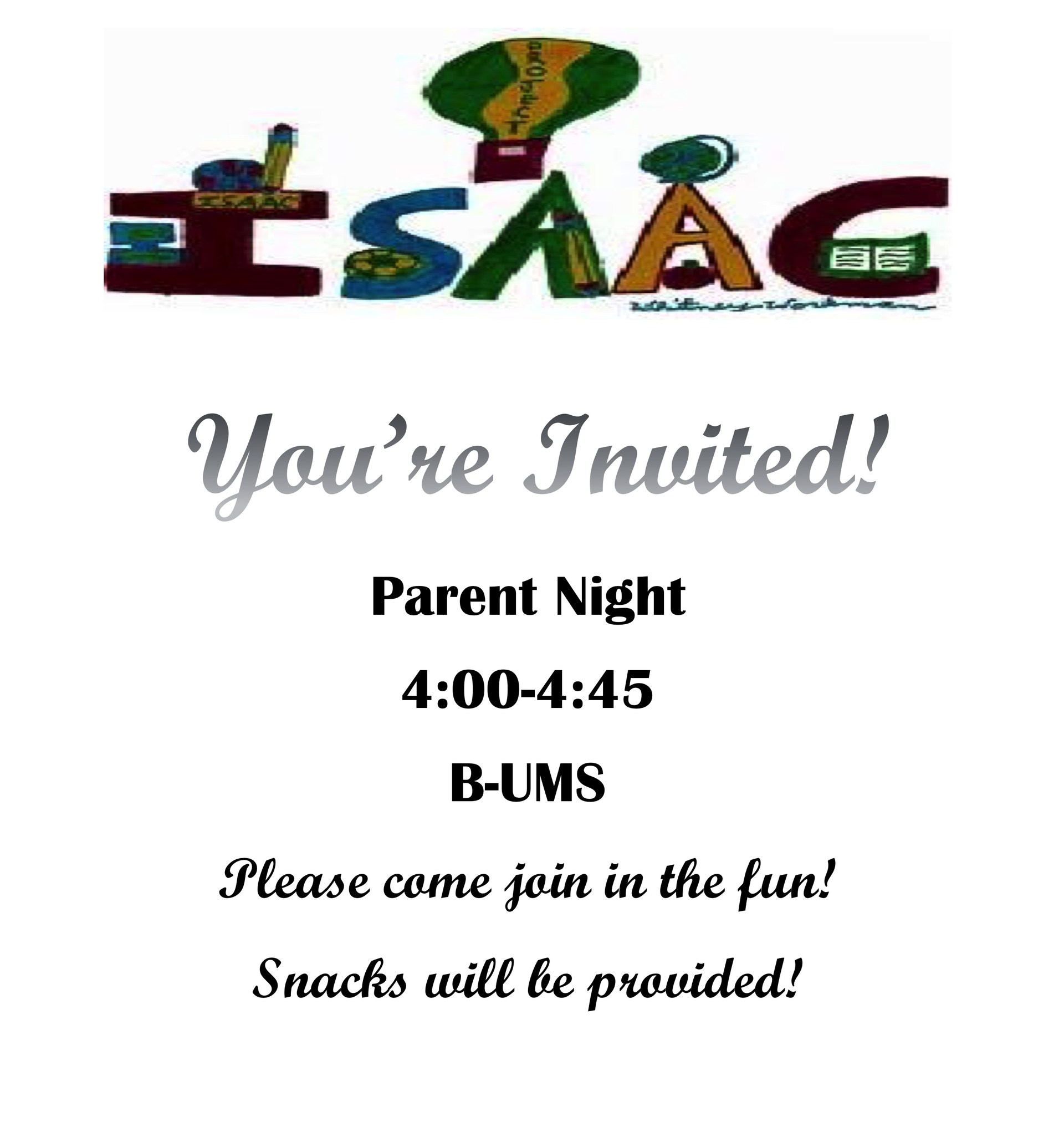 Parent Night - Thursday, April 26th from 4:00-4:45