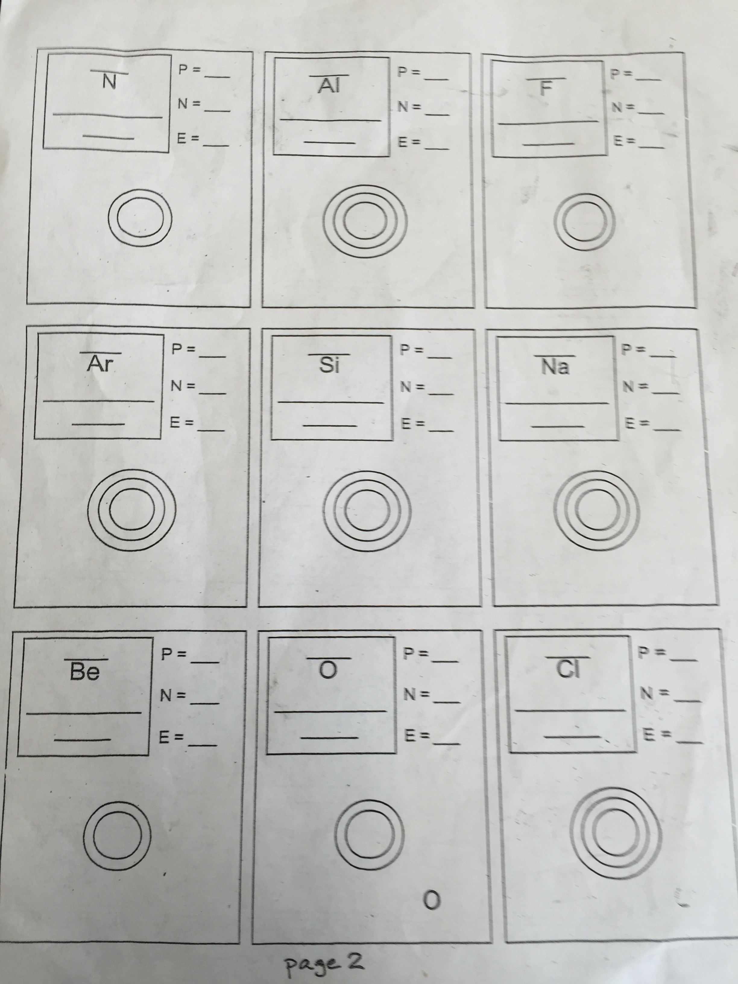 El Sereno Middle School – Drawing Atoms Worksheet