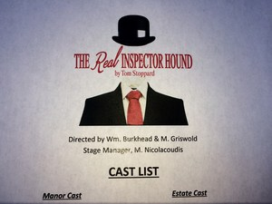 Image of the Real Inspector Hound Drama, playing November 8-17, 2017