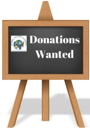 clipart with chalkboard and the words donations wanted
