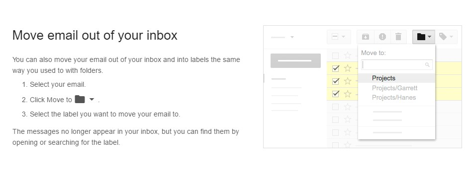 Move Email out of your Inbox Screenshot