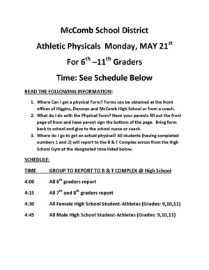 Athletics physicals schedule