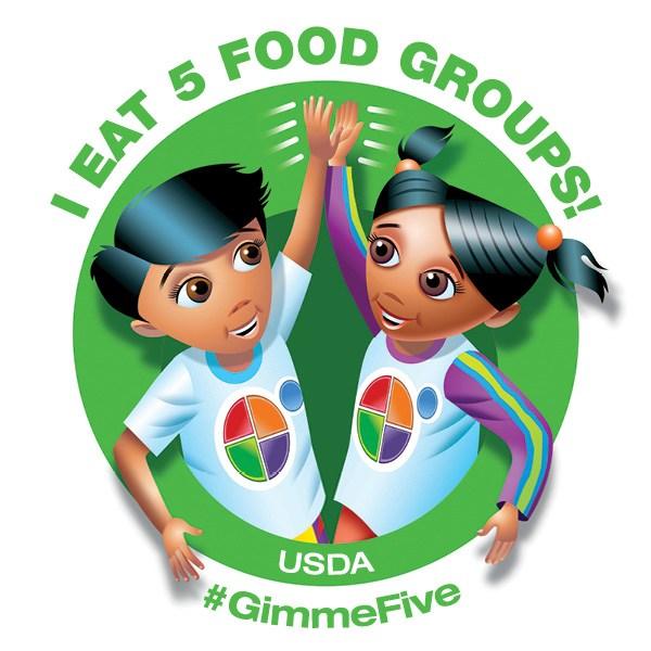 I Eat Five Food Groups Logo