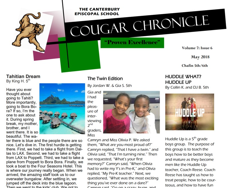 Final Edition of the 2017 - 2018 Cougar Chronicle Thumbnail Image