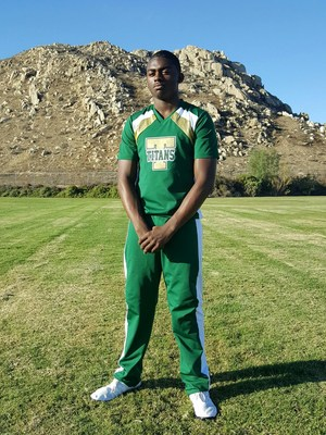 CJ Hawkins on the Tahquitz football field.
