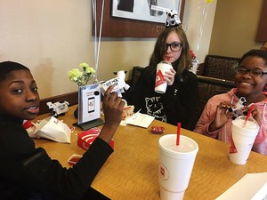 Lexile winners eating at Chick Fil A