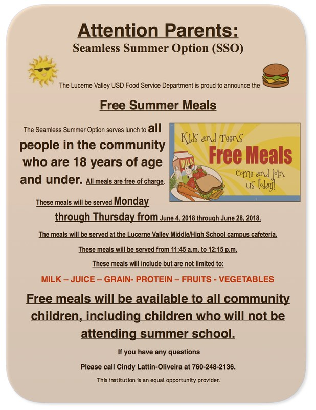 Lucerne Valley USD offering Free Summer Meals program Featured Photo