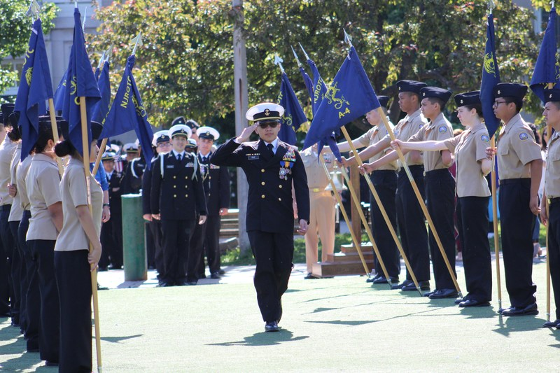 A Senior Cadet gives his final salute during the 2017 Bell Ceremony