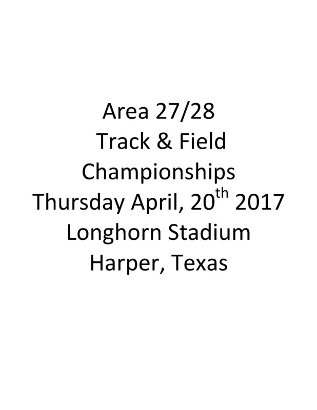 Area Track Meet Schedule of Events