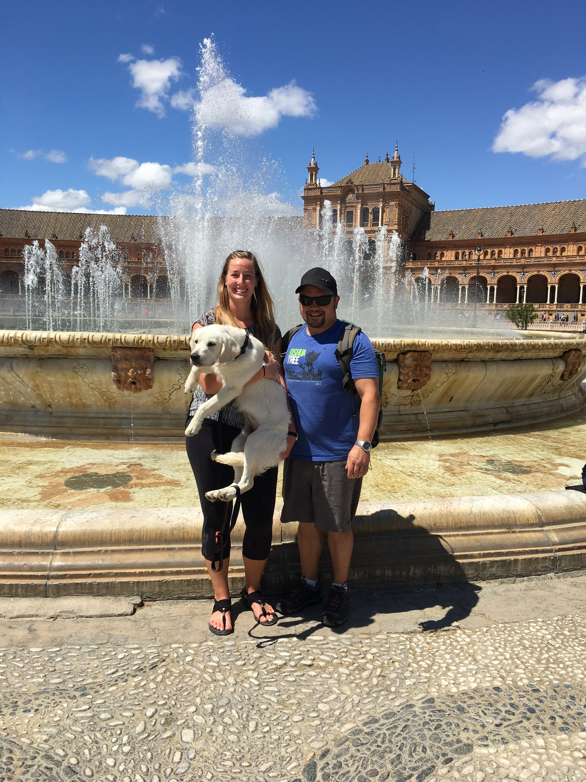 My husband, puppy and me in Sevilla, Spain