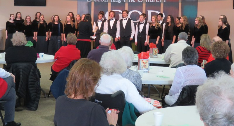 TKHS Honors Choir entertains senior citizens at the annual holiday luncheon.