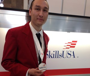 PHS Alumnus Fidel Castro with his silver medal at the Skills USA National Conference