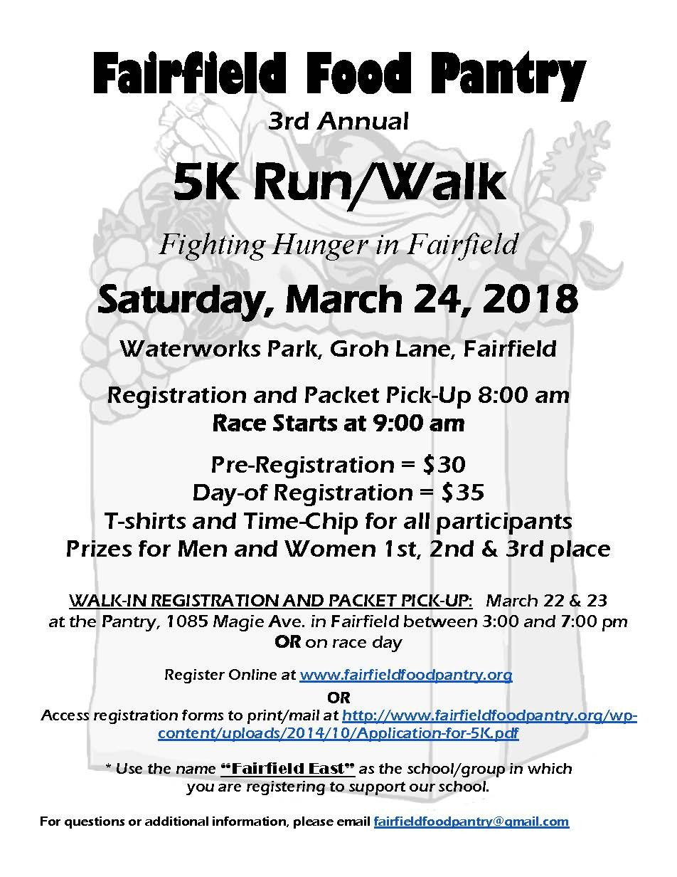 Image of registration flyer for the Fairfield Food Pantry's 5K walk for hunger.