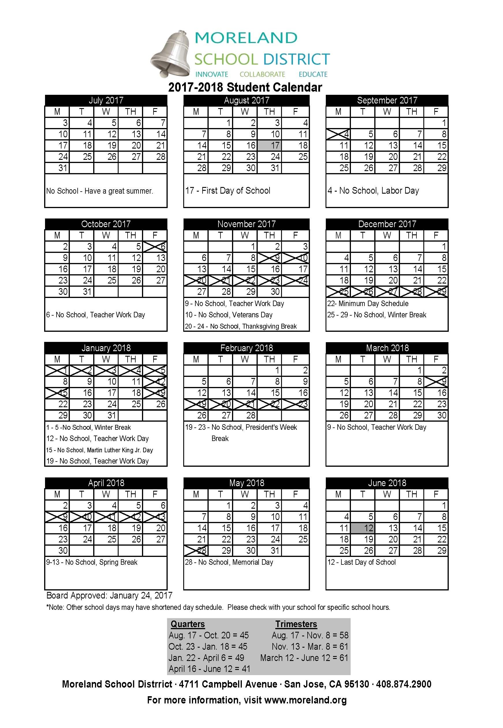 School District Calendar 2017 2018 (MMS school events are on the