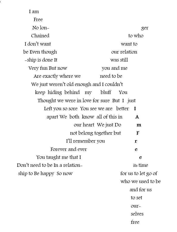 Concrete poem - bird