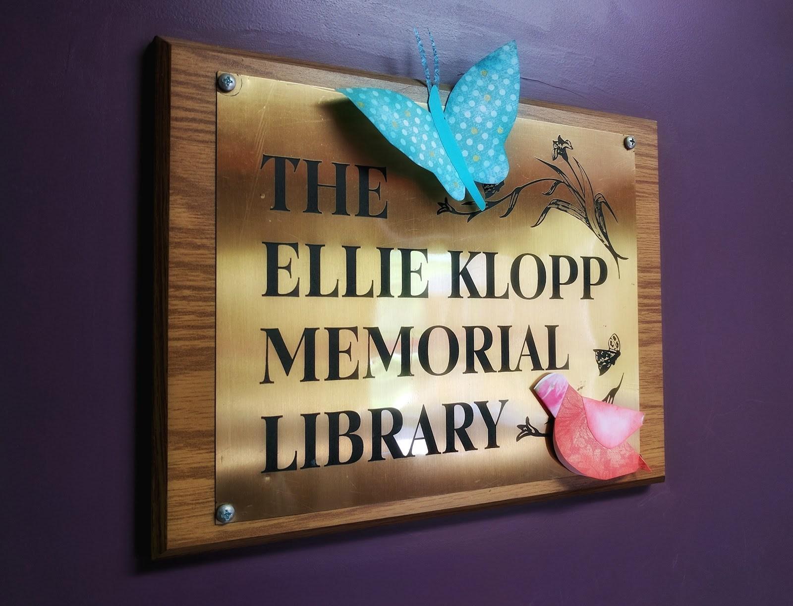 Ellie Klopp Library Sign