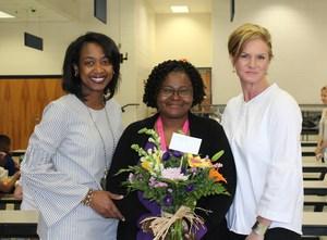 Mrs. Sharon Matthews, kindergarten paraprofessional, is ABC's True Blue Award winner.