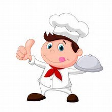 boy with chef hat holding tray with thumbs up