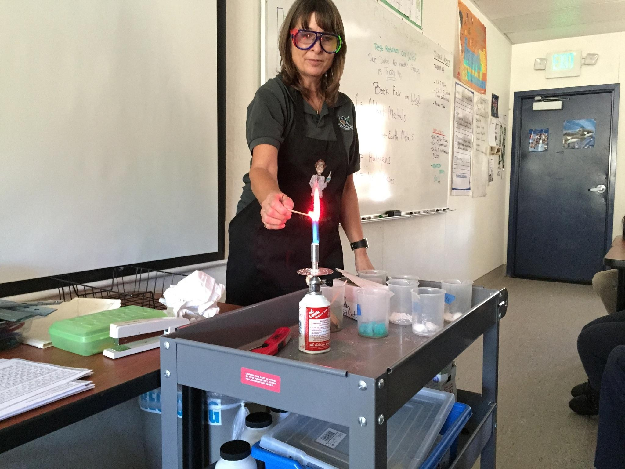Today in class, Mrs. DeLuna demonstrated how different elements have different colors when introduced to a heat source.