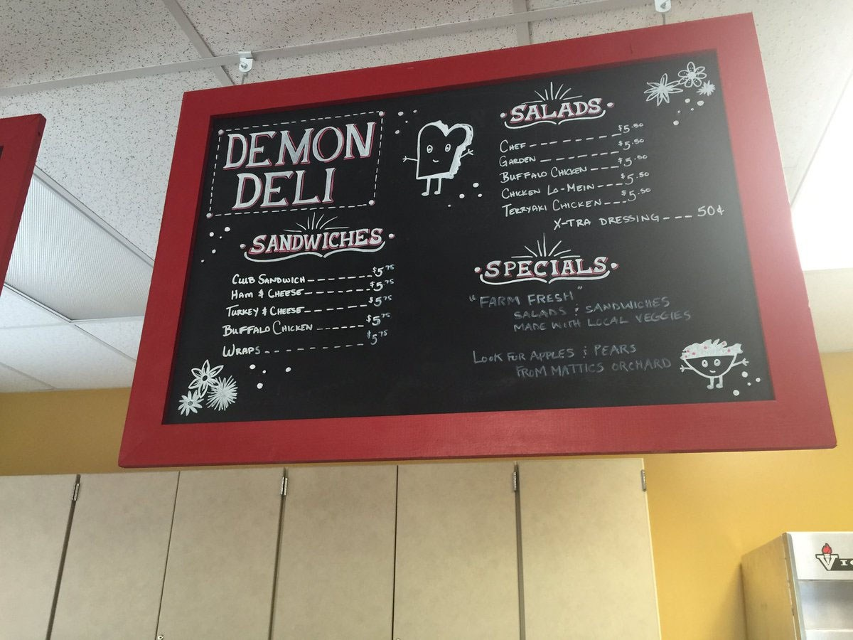 Photo of the menu board at the Demon Deli