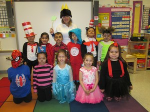 kindergarten class wearing their favorite character costume