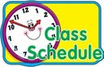 Picture of smiling clock face with words class schedule.