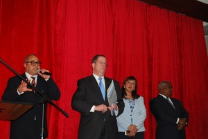 justin Mercado addressing audience along with Mayor Brian Stack, Comm. Martinetti and Comm Rivas