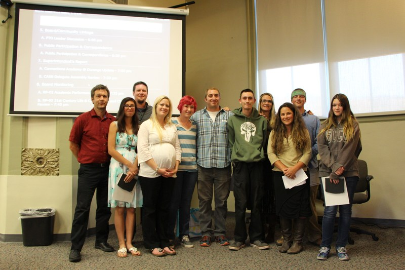 Photo of Big Picture students and staff getting recognized at the Durango 9-R School Board Meeting.