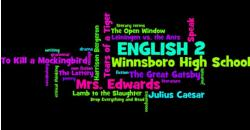 A word cloud introducing students to the English II curriculum (titles of novels, units, short stories, etc)