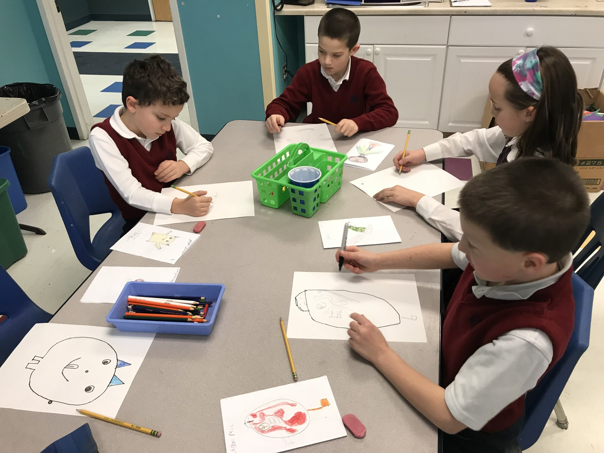 Group of students drawing