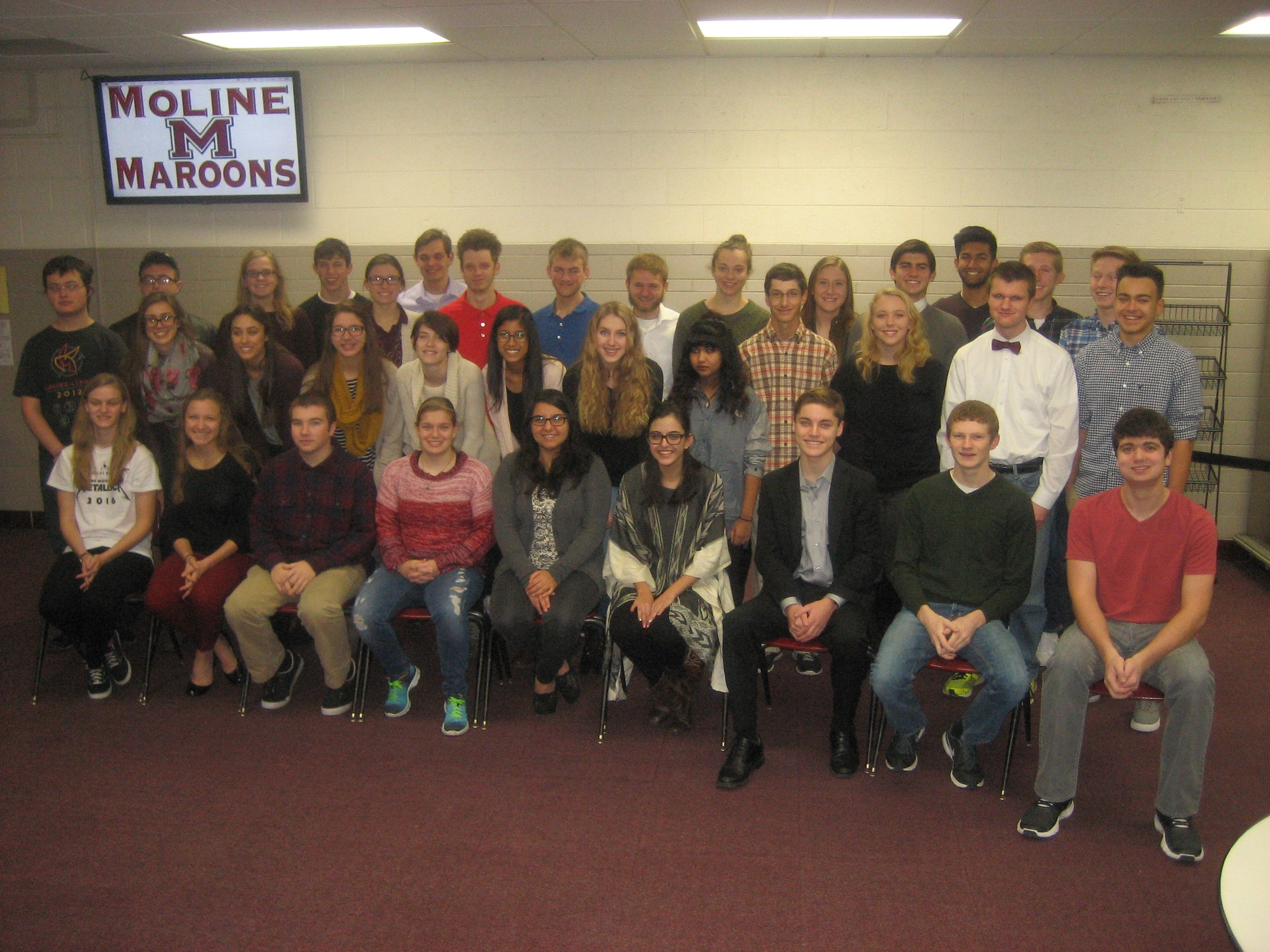 Moline High School Illinois State Scholar students.