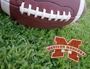 Football with Madison logo