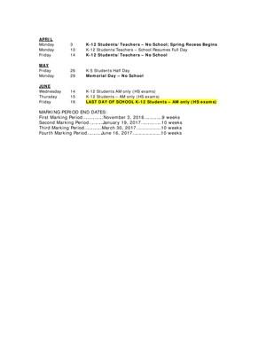 District calendar continued