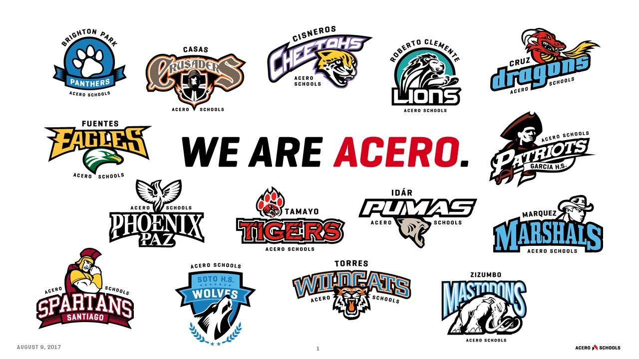 An image with all school mascots with We Are Acero nested in the middle.