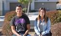 Adam Chacon and Samantha Gudiel Veliz sitting in front of Tahquitz High School