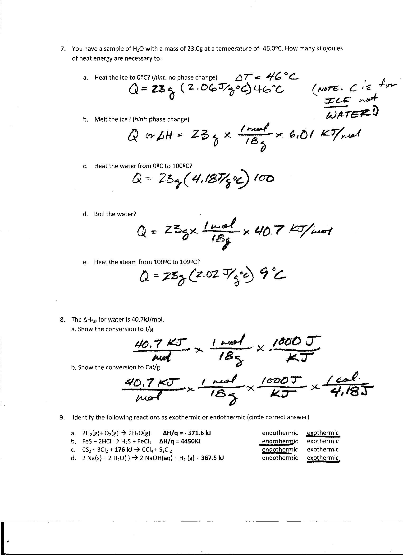Foothill High School – Phase Change Worksheet Answers