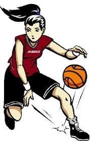 girl dribbling basketball clip art