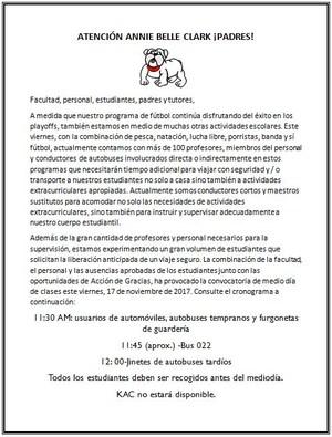 EARLY DISMISSAL SPANISH.JPG