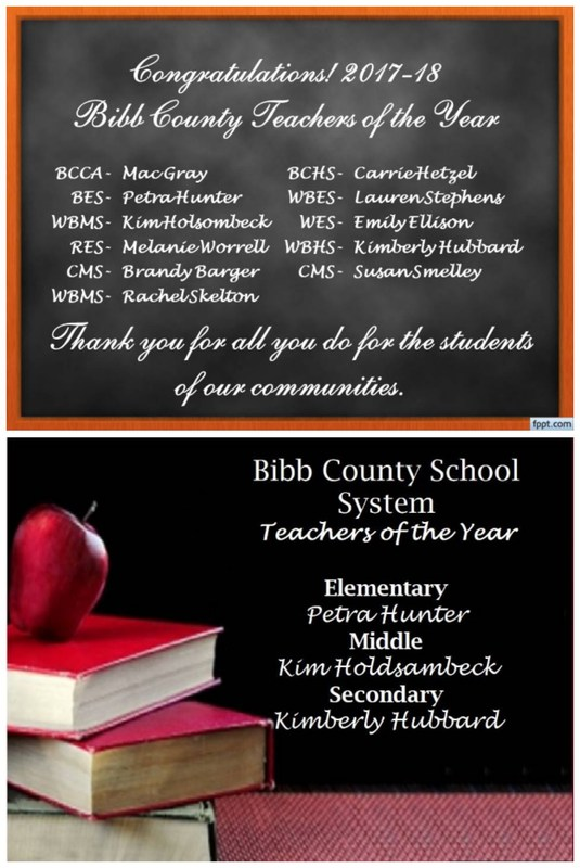 Congratulations 2017-18 Teachers of the Year BCCA-Mac Gray, BCHS-Carrie Hetzel, BES-Petra Hunter, WBES-Lauren Stephens,WBMS-Kim Holdsambeck, WES-Emily Ellison, RES-Melanie Worrell, WBHS-Kimberly Hubbard, CMS-Brandy Barger, CMS-Susan Smelley,WBMS-Rachel Skelton, District Winners - Petra Hunter, Kim Holdsambeck, Kimberly Hubbard