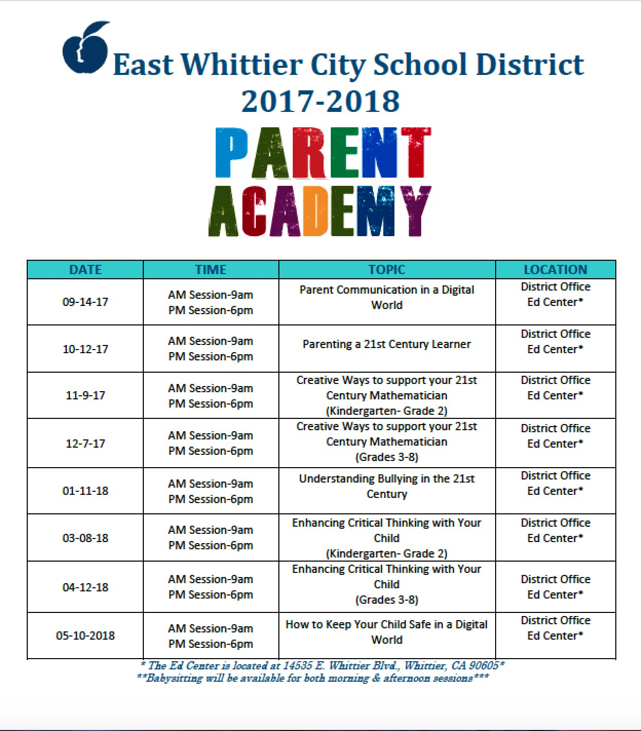 Parent Academy Schedule