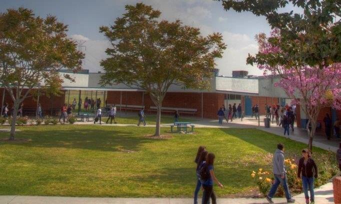 Students walking around center quad