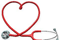 Stethoscope with red tube forming a heart