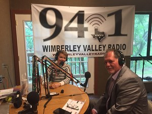 Radio Announcer with Superintendent Dwain York at Wimberley Radio Station