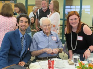 Decades of TK graduates attended the alumni dinner. Pictured are the oldest - member of the Class of 1939  - the youngest - members from the Class of 2015.