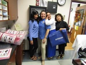 Jefferson support staff wearing blue
